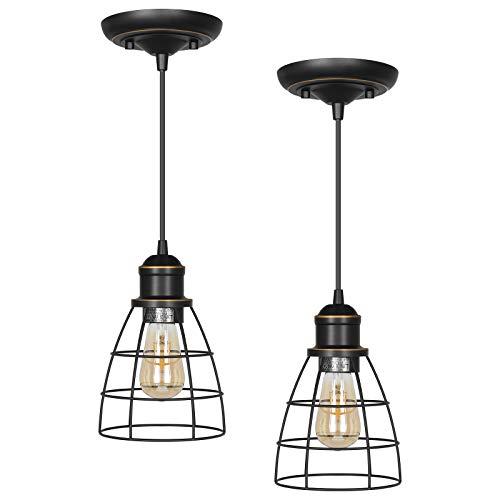 DEWENWILS Industrial Pendant Light, Adjustable Hanging Light Fixtures, Metal Caged E26 Base, Farmhouse Pendant Light for Kitchen Island, Bedroom, Dining Hall, 2 Pack, ETL Listed