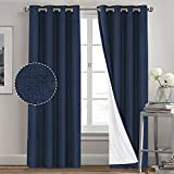 Primitive Textured Linen 100% Blackout Curtains for Bedroom/Living Room Energy Saving Window Treatment Curtain Drapes, Burlap Fabric with White Thermal Insulated Liner (52 x 84 Inch, Navy)