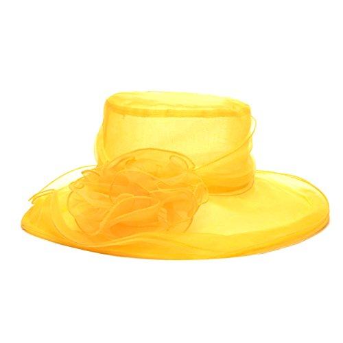 TININNA Damen Sommer Hut Blumen Organzahut Sonnenhüte Sonnenhut Sonnenhuete Damenhut Fascinator Hut gelb EINWEG Verpackung