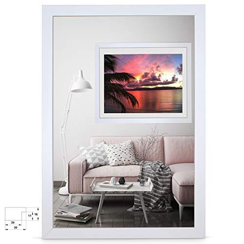 rahmengalerie24 Bilderrahmen 80x100 cm Rahmen Weiß Holz Acrylglas ohne Passepartout Portraitrahmen Fotorahmen Wechselrahmen für Foto oder Bilder MDF Dekorahmen ohne Bild Alice