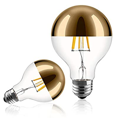 Half Chrome Light Bulb 6W (60W Equivalent) Dimmable LED Edison Bulb G80/G25 Globe Shape Decorative LED Bulb Half Gold Reflected Light 2700K Soft White E26 Base Pack of 2