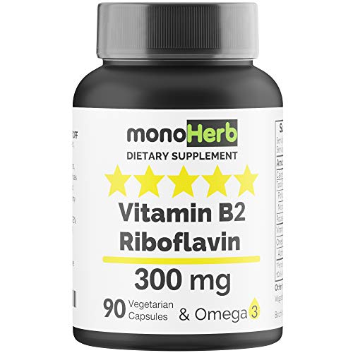 Vitamin B2 300 mg Riboflavin - Against Migraine - 90 Capsules with Omega 3