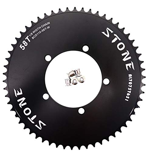 "Stone Track Chainring 110 BCD 1/8"" Fixie Single Speed BMX 42-60T, Fixied Gear 43 44 45 46 47 48 49 50 51 52 53 54 55 56 57 58 59 T Tooth (60T)"