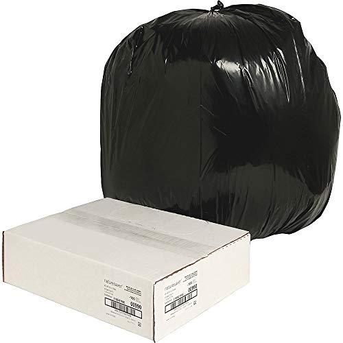 Nature Saver Black Low-Density Recycled Can Liners Trash Bag, Large, 100 per Carton