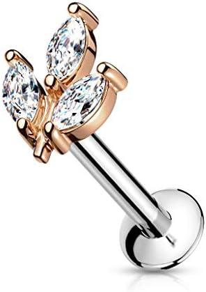 Pierced Owl 16GA Triple Crystal Marquise Stainless Steel Threadless Push in Flat Back Labret Monroe Lip Stud