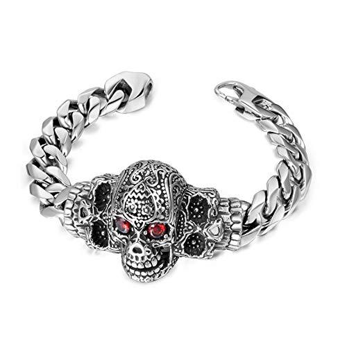BRY Pulsera de titanio y acero para hombre, diseño gótico, punk rock, plata, 22 cm