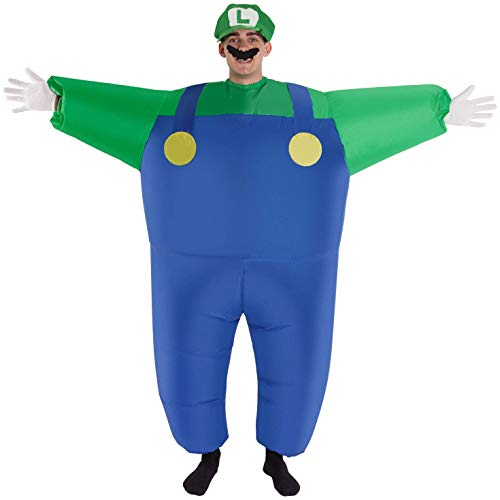 Inflatable Luigi Costume for Adults. Become a giant Luigi! One size fits all.