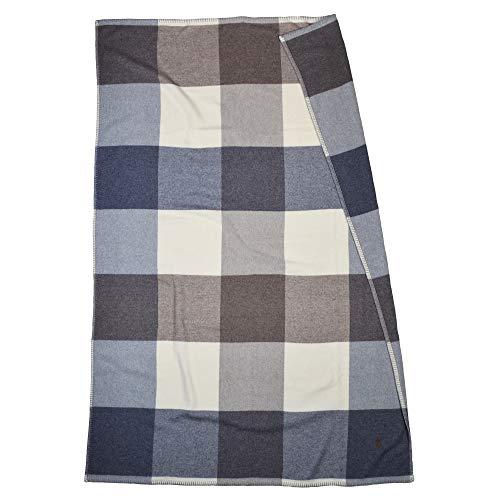 ZOEPPRITZ Cube Decke – mehrfarbige Karo Wolldecke aus 100% Reiner Schurwolle – 130x190 cm – besonderer Kantenabschluss