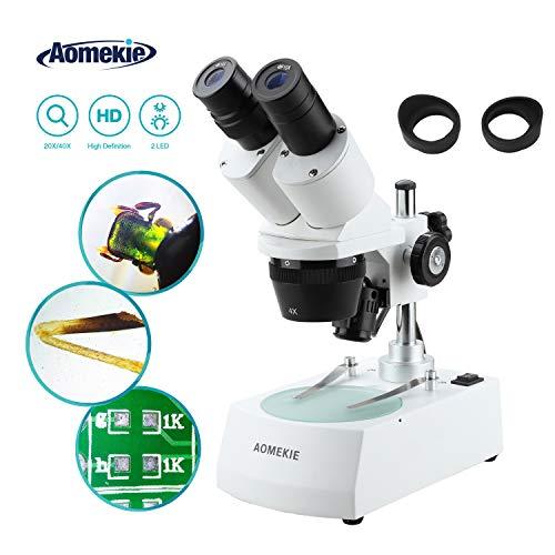Aomekie Microscopio Estereo 20X/40X para Estudiantes Microscopio Binocular Estéreo con Sistema de Doble Incidente Transmitido e Iluminación con Tapa del Ocular del Microscopio
