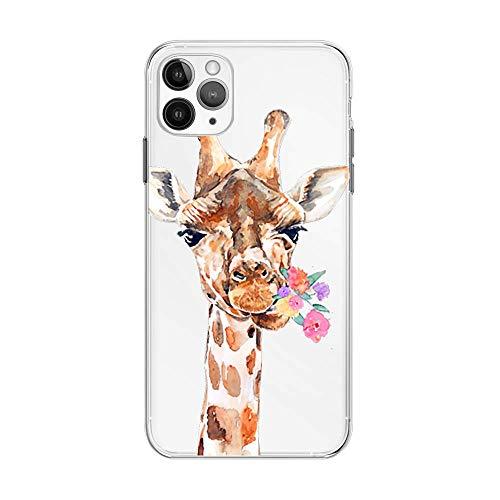 FancyHülle Kompatibel mit iPhone 12 Pro (6,1 Zoll) Tiermuster Weiche Silikon Schutzhülle Transparent iPhone 12 Pro Hülle (Blume Giraffe)
