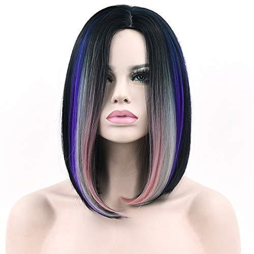 XIEWEICHAO Bleu et gris dégradé Dyed perruque rose cheveux courts perruque Réseau Rose (Color : Black gray purple)