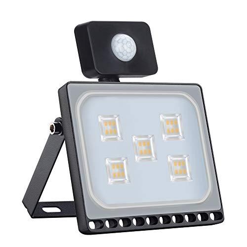 Outdoor LED Fluter mit Bewegungsmelder für Garten, Garage, Hof Außenbeleuchtung(10 Stück, 30W Warmweiß)