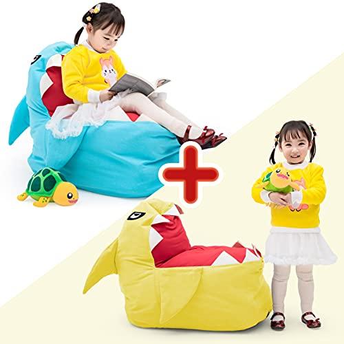 Cojín de almacenamiento de peluche, para niños, adolescentes y adultos, organización de malla para juguetes, mantas, toallas, ropa, artículos para el hogar (azul y amarillo)