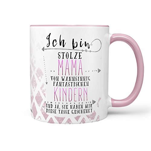 Sunnywall Tasse Kaffeebecher Lieblingstasse Geburtstags-Tasse Geschenk-Tasse inkl. gratis Geschenkkarte (stolze Mama - Kindern (rosa))