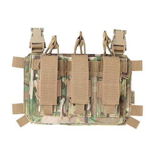 OneTigris Pistol Mag Pouch Taktisches Plakat 02 Pistole DREI-Fach Magazinetaschen für Chest Rig Plattenträger Triple Kangaroo mag Pouch | MEHRWEG Verpackung (Multicam)