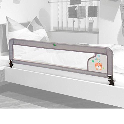 littleworld Bettgitter Luxus - Rausfallschutz für Babys - Fallschutz geeignet für Elternbett & Babybett - rutschsicher - hellgrau mit Tigermotiv
