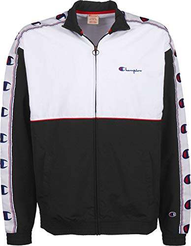 Champion Reverse Weave Full Zip Contrast Detail Tracksuit Top SMALL White and RED