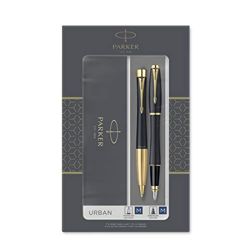 Parker Urban Duo-Geschenkset mit Kugelschreiber und Füllfederhalter, Muted Black mit Goldzierteilen, Nachfüllmine und -Patrone mit blauer Tinte, Geschenkbox