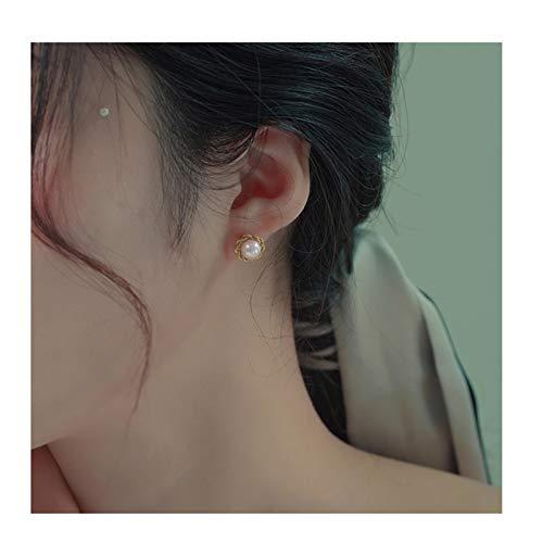 Pendientes de Diamantes 18K Gold Pearl Stud Pendientes Aurora Redonda y Impecable Pendientes de Perlas de Agua Dulce Femenino DISEÑO DE Pendientes DE Moda Pendientes Colgantes