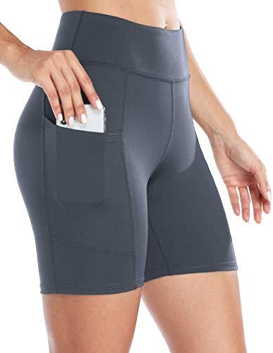 Anwell Laufhose Kompression Damen Tights Push Up Thermo Short Hose kurz elastisch Sommer mit Tasche Kurze Hose Hoher Bund Grau S