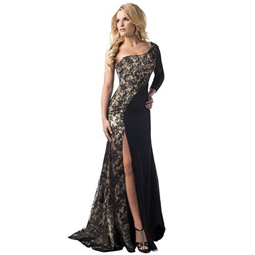 XGBDTJ Damen Hochzeitskleid Runde Ausschnitt Kurzarm Lange Fashion Abendkleider Spitzen Elegant Schöne Stylish Unique Edles A-Linie Brautkleider Abiballkleid (Color : Schwarz, Einheitsgröße : M)