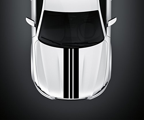 28 x 100 cm Viperstreifen Motorhaube Rallystreifen Rallye Streifen Rennstreifen Auto Aufkleber Viper Tuning 2N371_2, Farbe:Schwarz glanz