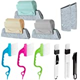 Hand-held Groove Gap Cleaning Tools, Window Slot Brush Kit with Replacement Pad, Creative Dustpan Cleaning Brush for Blinds, Car Vents, Air Conditioning Keyboard, Sliding Door Track Tile Line