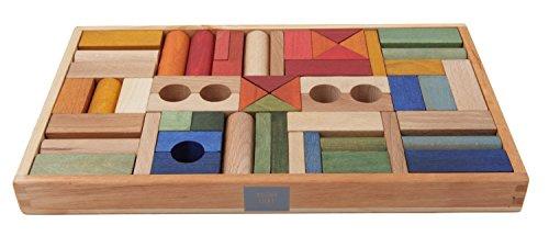 Regenbogen Holzklötze, 54 teilig mit natürlichen Farbpigmenten behandelt
