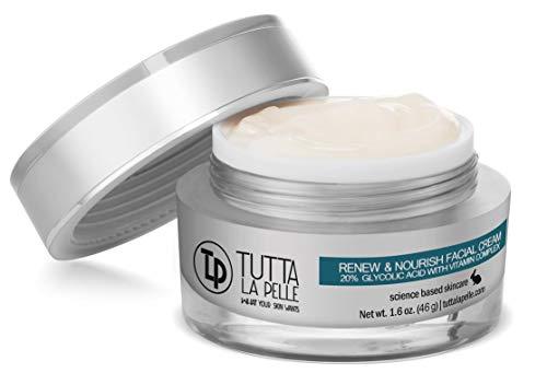 Glycolic Acid Cream 20% AHA Facial Cream, Vitamin Complex – Acne Cream, q10 Anti Aging wrinkle cream, KP - Keratosis pilaris / Fine Line Cream - Day and Night Cream - Oil Free - Renew & Nourish 1.6 oz