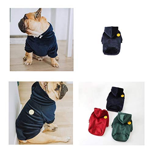 Khemn 丨Bulldog Custom-Clothing丨Silky Soft Warm Bulldog Hoodie Dog Fashion Outwear Coat with Pockets for French Bulldog/English Bulldog/American Pit Bull Terrier/Pug (FB, Navy Blue)