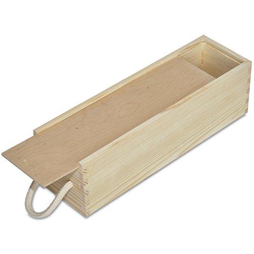 Creative Deco Wein-Kiste aus Natürliches Kiefern-Holz | Wein-Box für 1 Flasche mit Schiebedeckel und Tragekordel | 35,5 x 10,5 x 10,5 cm | Perfekt für Lagerung, Dekoration oder als Geschenk-Holzkiste