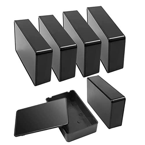 Doiido 6 Pezzi Scatola di Giunzione Custodia Elettronica Custodia in Plastica Impermeabile Strumento Scatola di Alimentazione in Plastica per Progetti Elettrici Nero 10 * 6 * 2.5CM