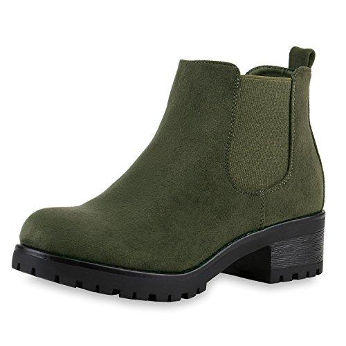 SCARPE VITA Bequeme Damen Chelsea Boots Profilsohle Stiefeletten Blockabsatz 149653 Dunkelgün Velour 38