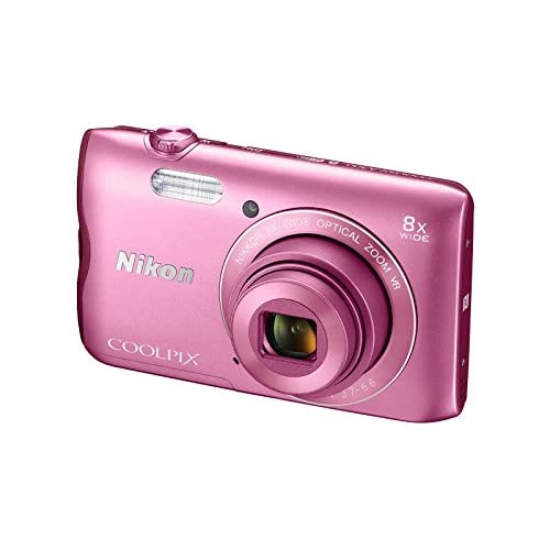 Nikon Coolpix A300 20.1MP Point and Shoot Camera with 8x Optical Zoom with 16GB Memory Card and Camera Case (Pink)
