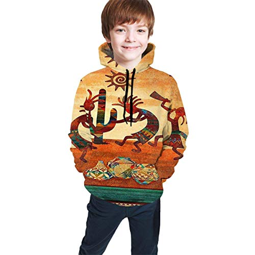 dgfgad Sweat à Capuche Kids Hoodies Southwest Native American Kokopelli Youth Sweatshirt Pockets Pullover Clothes Hooded for Boys Girls