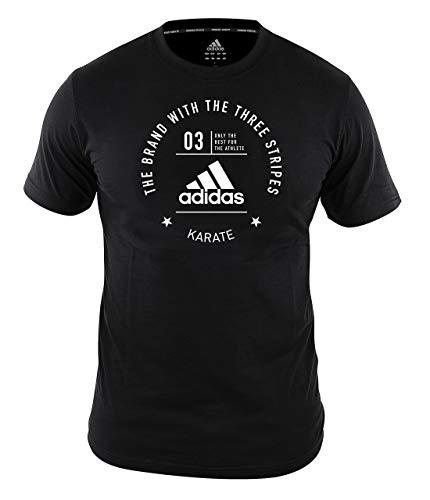 adidas Karate T-Shirt Men Women Black Martial Arts Training Gym Workout Top Camiseta para Hombre, Mujer, Color Negro, Artes Marciales, XL