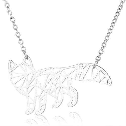 Aluyouqi Co.,ltd Collar Collar Collar Lindo Lobo Colgante St Acero Cadena De Oro Animal En El Cuello...