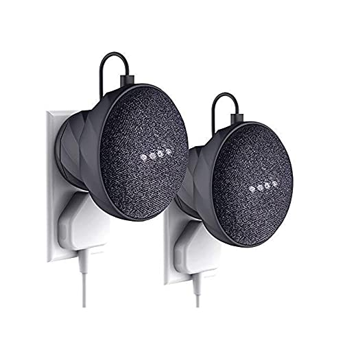 KIWI design Soporte Montaje en Pared para Home Mini Voice Assistants de Google (1.a generación) , Un Estuche para Accesorios Que Ahorra Espacio para Home Mini (2 Paquetes Negro)