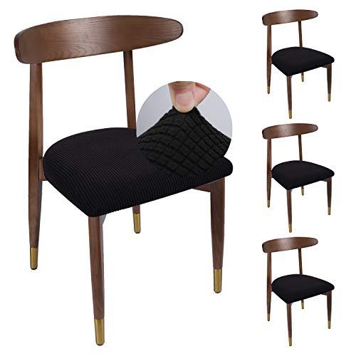 Qishare 4er Set Stuhlbezug für Bürostuhl Husse, universellen, waschbar Stretche Bezug Sitzbezug Stuhlhussen für Esszimmer, Büro(schwarz)