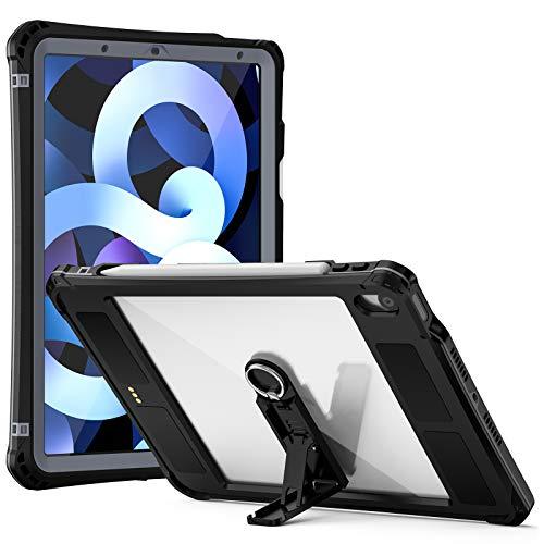Lanhiem Funda Impermeable para iPad Air 4 ,iPad 10.9 2020 4th Carcasa IP68 Certificado Sumergible Silicona con Soporte y Bandolera, Portalápiz [360 Grados de Rotacion], Negro