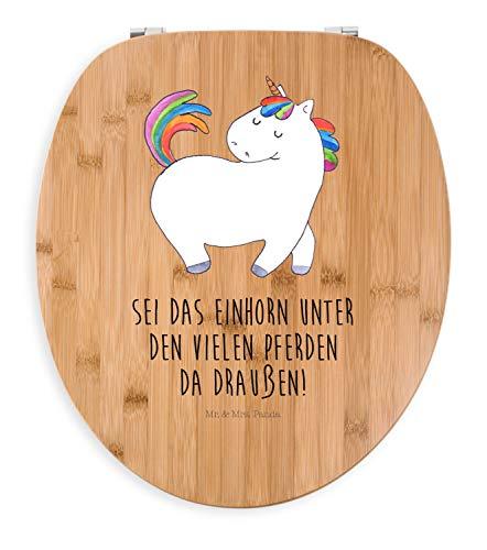 Mr. & Mrs. Panda WC-Sitz, Toilettendeckel, Motiv WC Sitz Einhorn stolzierend mit Spruch - Farbe Transparent