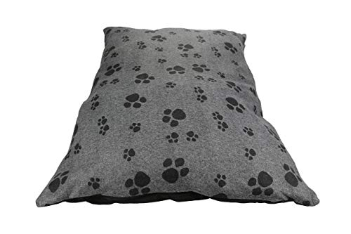 Trading Innovation Fleece Removable Cover Puppy Pets Dog Cat Bed Cushion Pillow Mat Large Deluxe (Grey Paws)