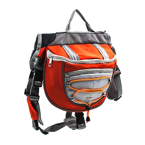 HaiQianXin Bolso de la Silla de Montar de la Mochila de Las alforjas del Perro del Animal doméstico del poliéster para Caminar Que acampa del Viaje (Color : Orange, Size : L)