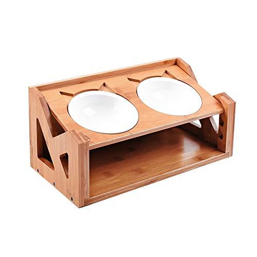 Queta Ciotole per Gatti Cani Rialzate Ciotole Gatto Cane in Ceramica, con Supporto in Legno, Regolabile Altezza 37.6x19x16/11.5cm