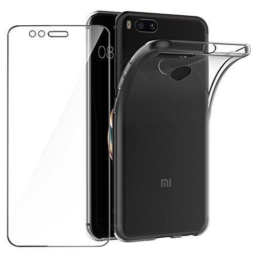 Leathlux Funda + Cristal para Xiaomi Mi A1, Transparente TPU Silicona [Funda + Vidrio Templado] Ultra Fino Protector de Pantalla 9H Dureza HD y Flexible Back Case Cover para Xiaomi Mi A1 / Mi 5X 5.5