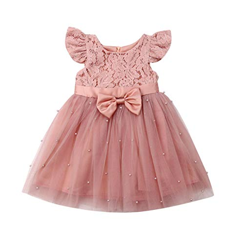 Vestido de Princesa de Verano para Niña Vestido de Encaje de Manga Corta con Decoración de Lazo y Perlas Vestido Tutu de Malla de Fiesta de Cumpleaños para Niña Pequeña (Rosa, 6-7 años)