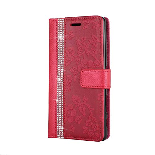 Coque Sony Xperia X Housse, SONWO Etui en Cuir Magnetique Flip Portefeuille Housse avec Fonction Support et Fentes de la Carte pour Sony Xperia X, Rouge