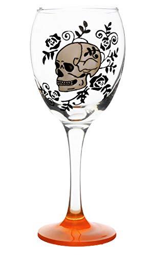 Memories-Like-These Verre à vin Style rock 'n roll Motif squelette peint à la main Base orange