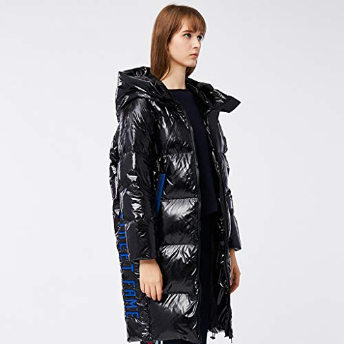 FAPROL-Down Jackets Damen Lange Daunenmäntel Warme Daunenjacke Mit Kapuze, Winter Weiße Entendaunen Lose Jacke Mode Glänzendes Design Black S
