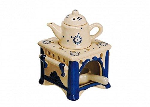 meindekoartikel Duftlampe Aromalampe Öllampe Keramik Herd mit Kessel Duftöl Duftwachs 15 cm groß